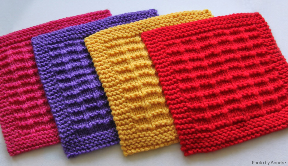 Free knitting pattern: Checkerboard Square - Knit-a-square