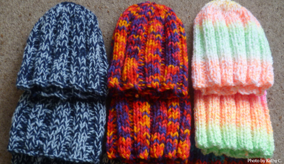 Free Knitting Pattern Kathy S Stretchy Hat Knit A Square